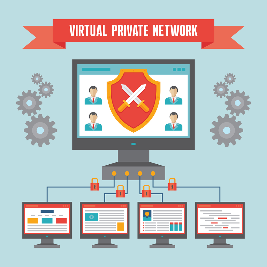 VPN (Virtual Private Network) - Illustration Concept in Flat Des